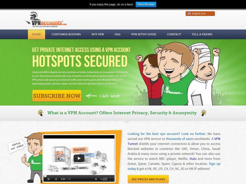 VPNaccounts.com Review Screenshot